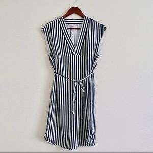 H&M V-neck striped dress dark navy and white